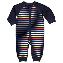 Buy Polarn O. Pyret Baby Stripe Sleepsuit, Blue Online at johnlewis.com