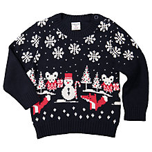 Buy Polarn O. Pyret Baby Christmas Fairisle Jumper, Blue Online at johnlewis.com