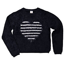 Buy Polarn O. Pyret Children's Stripe Heart Jumper, Black/White Online at johnlewis.com