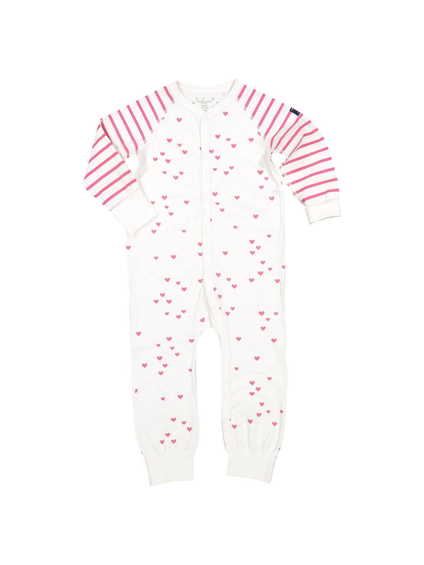 1dde57247 Polarn O. Pyret Baby Heart Print Onesie Pyjamas at John Lewis   Partners
