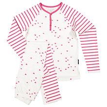 Buy Polarn O. Pyret Children's Heart Print Pyjamas, Pink Online at johnlewis.com