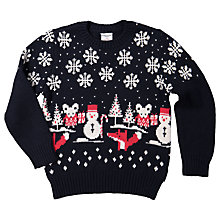 Buy Polarn O. Pyret Children's Christmas Fairisle Jumper, Navy Online at johnlewis.com