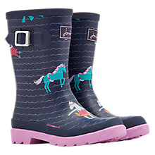 Buy Little Joule Children's Horse Wellington Boots, French Navy Online at johnlewis.com