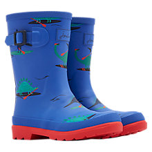 Buy Little Joule Children's Dinosaur Paddle Wellington Boots, Blue Online at johnlewis.com