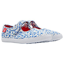 Buy Little Joule Children's Goodway Folk Ditsy Mary Jane Shoes, Blue Online at johnlewis.com
