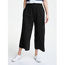 Buy People Tree Chandre Wide Leg Trousers, Black Online at johnlewis.com