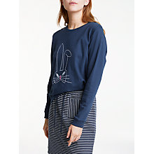 Buy People Tree Rabbit Sweatshirt, Navy Online at johnlewis.com