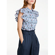 Buy People Tree V&A Grafton Frill Shirt, Navy Multi Online at johnlewis.com