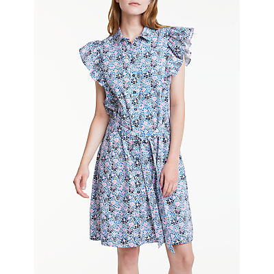 People V&A Tree Grafton Frill Dress, Blue Multi