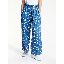 Buy People Tree Susie Floral Trousers, Blue Multi Online at johnlewis.com