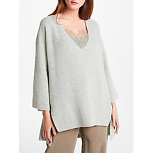 Buy Modern Rarity Cashmere Tie Neck Jumper, Light Grey Online at johnlewis.com