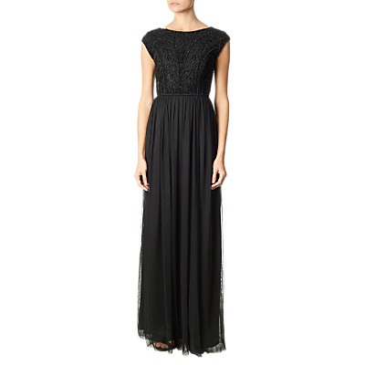Adrianna Papell Beaded Chiffon Long Gown, Black