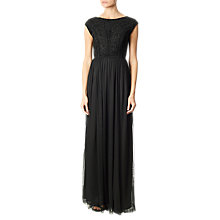 Buy Adrianna Papell Beaded Chiffon Long Gown, Black Online at johnlewis.com
