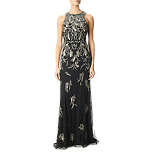 Buy Adrianna Papell Beaded Long Dress, Black/Mercury Online at johnlewis.com