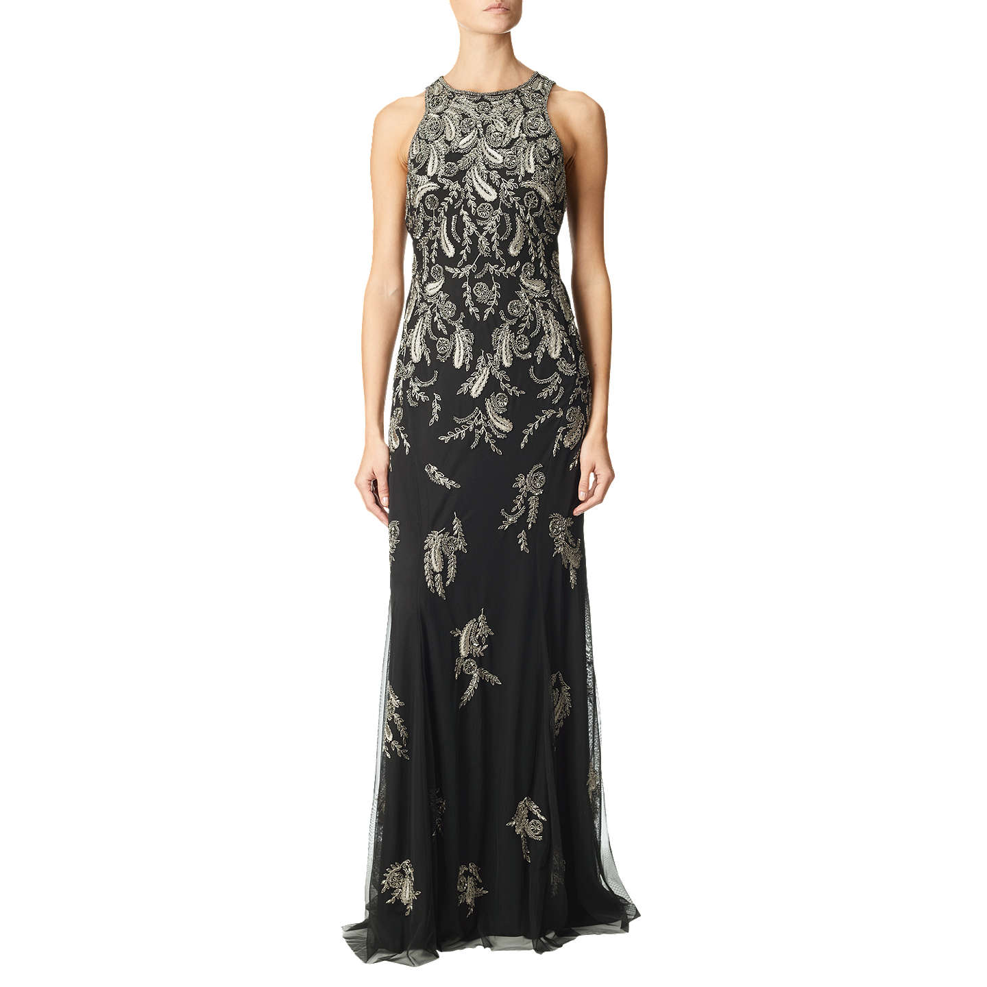 Adrianna Papell Beaded Long Dress, Black/Mercury at John Lewis