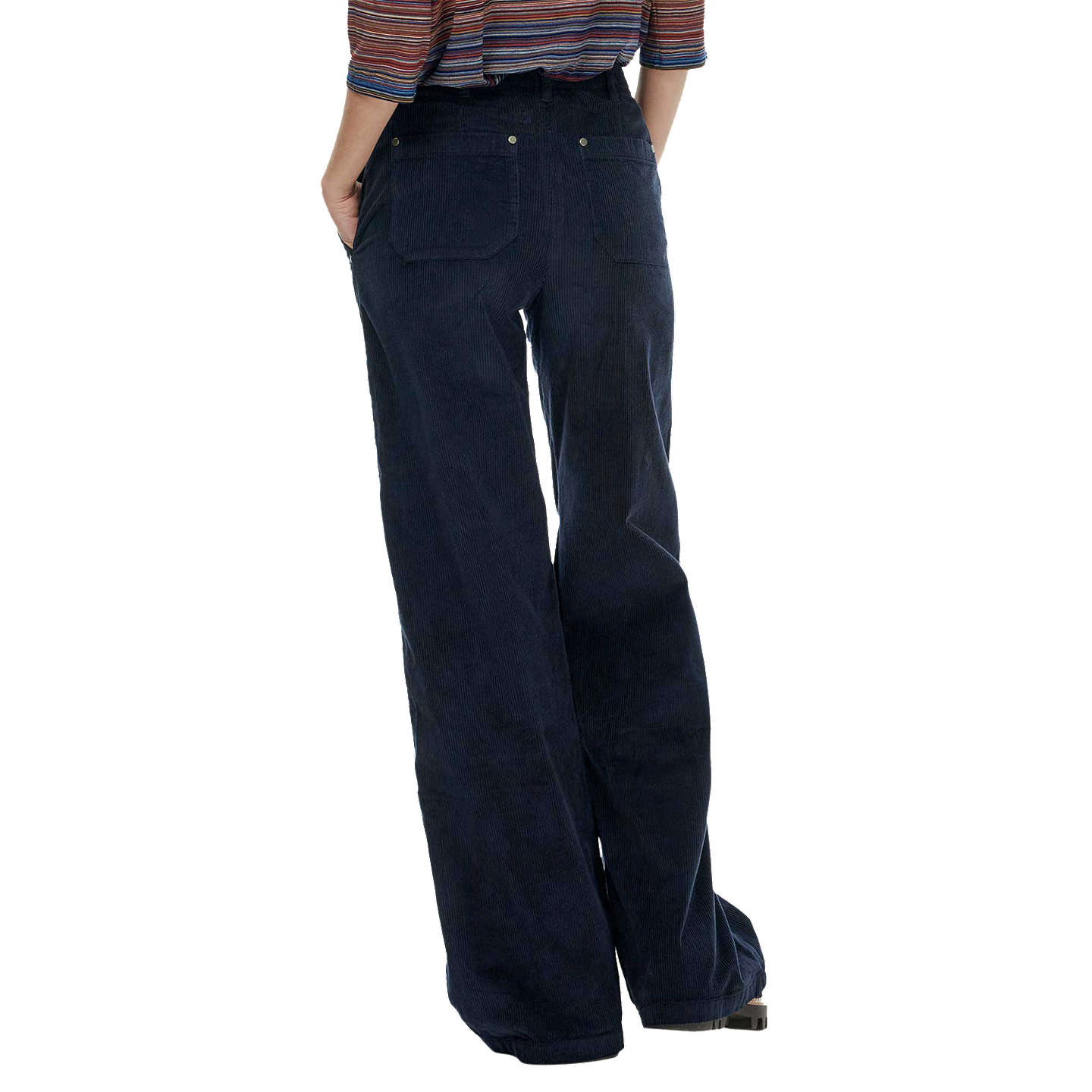 BuyBrora Jumbo Cord Wide Leg Trousers, Navy, 6 Online at johnlewis.com