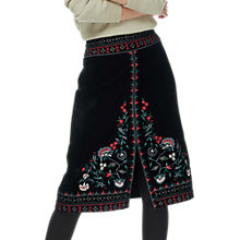 Buy Brora Velvet Embroidered Skirt, Black Online at johnlewis.com
