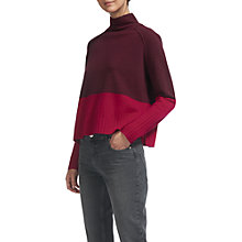 Buy Whistles Colour Block Funnel Neck Knitted Jumper, Fig Online at johnlewis.com