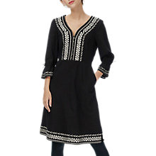 Buy Brora Folk Embroidered Cotton Dress, Midnight Online at johnlewis.com