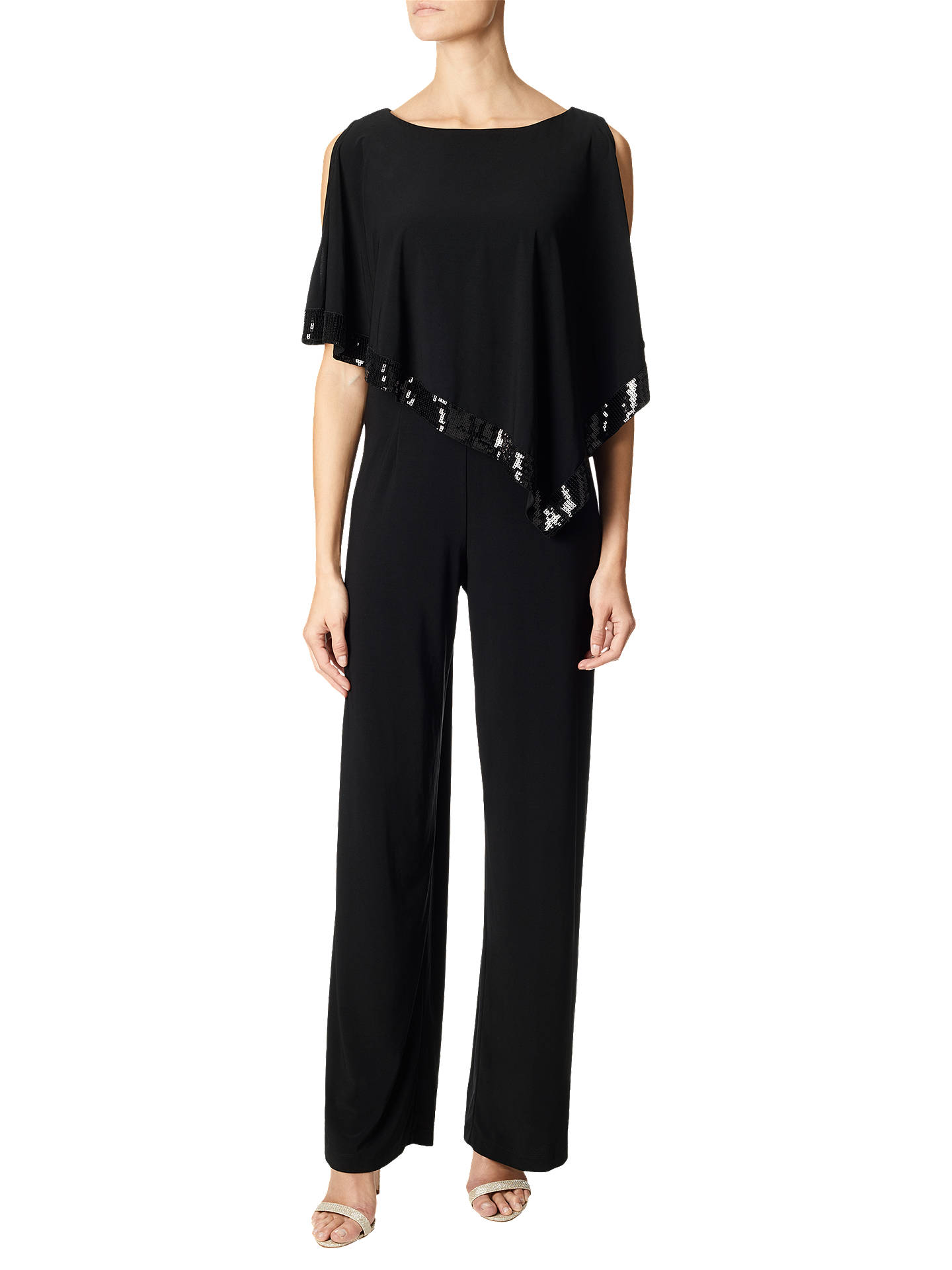 BuyAdrianna Papell Matte Jersey Capelet Sequin Trim Jumpsuit, Black, 8 Online at johnlewis.com