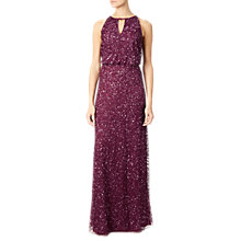 Buy Adrianna Papell Long Fully Beaded Gown, Black Cherry Online at johnlewis.com