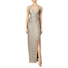 Buy Adrianna Papell Crinkle Jersey Long Dress, Gold Online at johnlewis.com