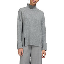 Buy Whistles Rib Detail Funnel Neck Jumper, Grey Marl Online at johnlewis.com