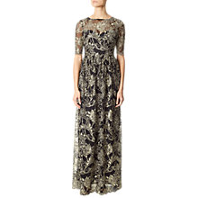 Buy Adrianna Papell Embroidered Floral Illusion Neckline Dress, Black/Gold Online at johnlewis.com