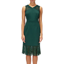 Buy Adrianna Papell Petite Lace Accent Mermaid Midi Dress, Hunter Green Online at johnlewis.com