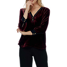 Buy Brora Silk Blend Velvet Contrast Trim Blouse, Port Online at johnlewis.com