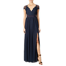 Buy Adrianna Papell Shirred Chiffon Chantilly Lace Sleeve Dress. Midnight Online at johnlewis.com