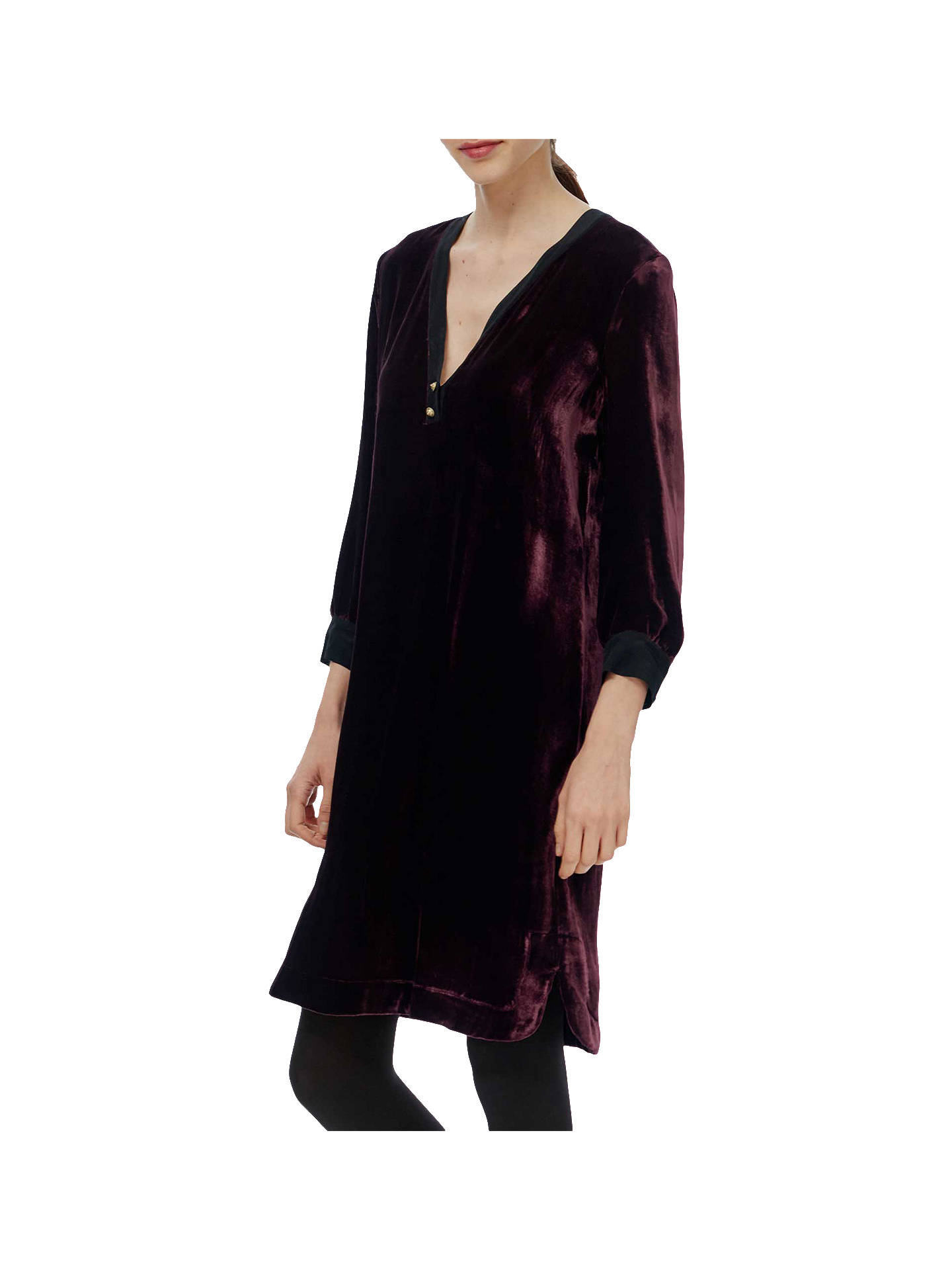 18c0a416ecd Buy Brora Silk Blend Velvet Tunic Dress, Port, 6 Online at johnlewis.com ...