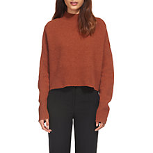 Buy Whistles Funnel Cropped Neck Wool Jumper, Rust Online at johnlewis.com