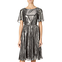 Buy Adrianna Papell Pleated Metallic Foil Dress, Gunmetal/Black Online at johnlewis.com