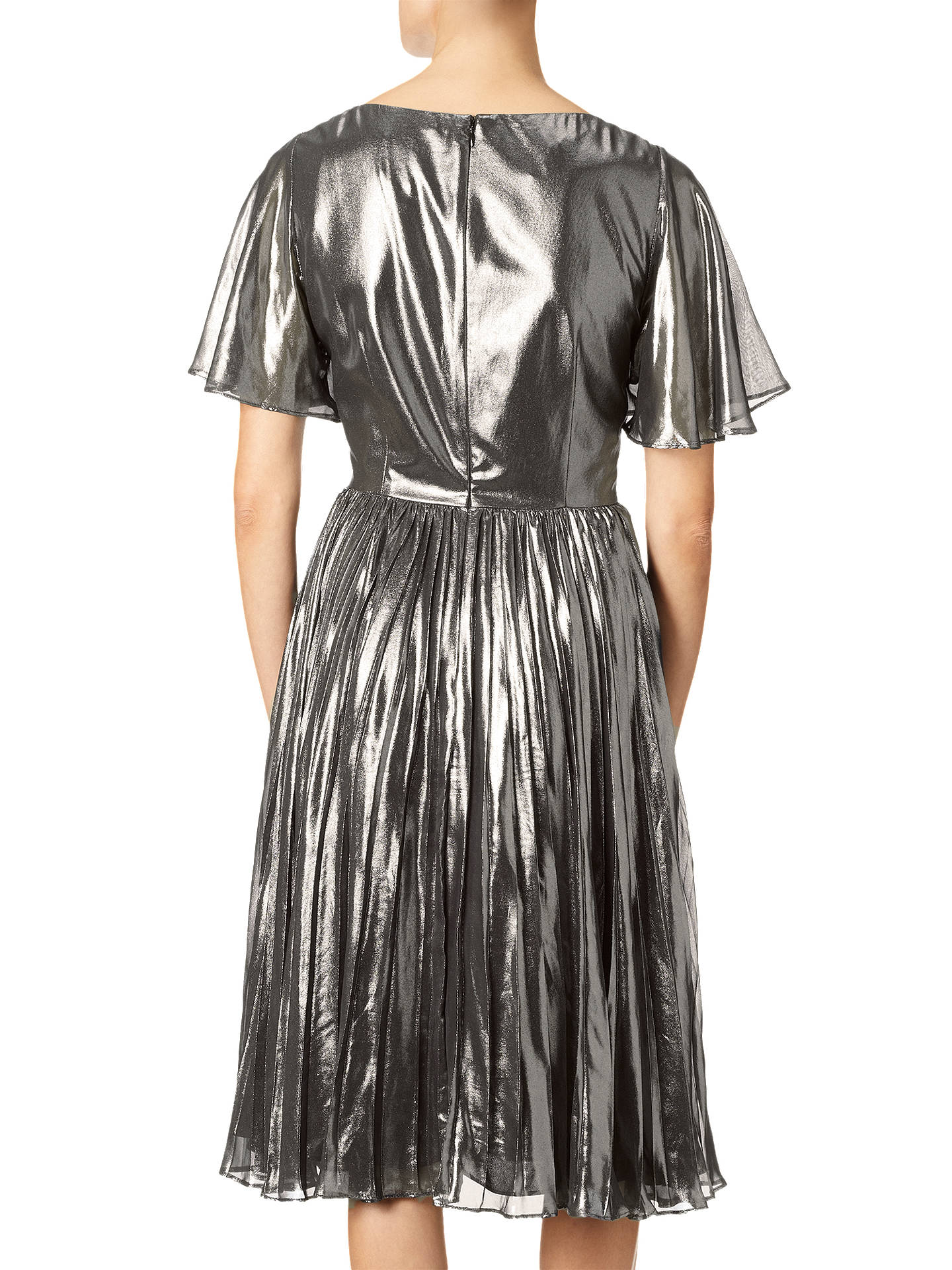 BuyAdrianna Papell Pleated Metallic Foil Dress, Gunmetal/Black, 8 Online at johnlewis.com