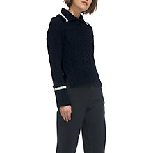 Buy Whistles Cable Split Neck Knit Jumper, Navy Online at johnlewis.com