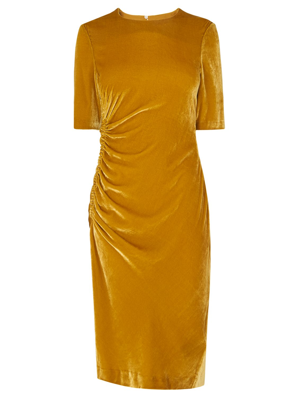 L K Bennett Kara Velvet Dress Citrine Yellow At John Lewis Partners