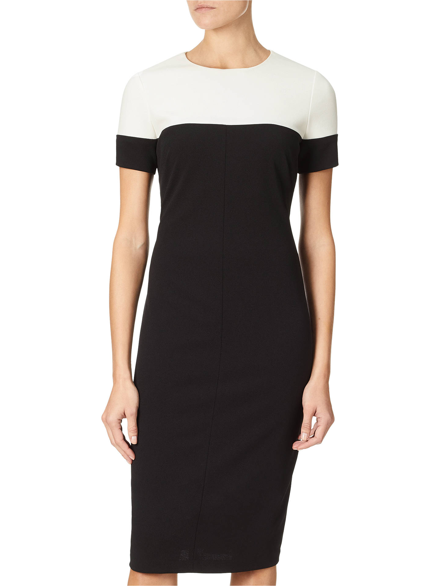 BuyAdrianna Papell Stretch Crepe Sheath Dress, Black/Ivory, 8 Online at johnlewis.com