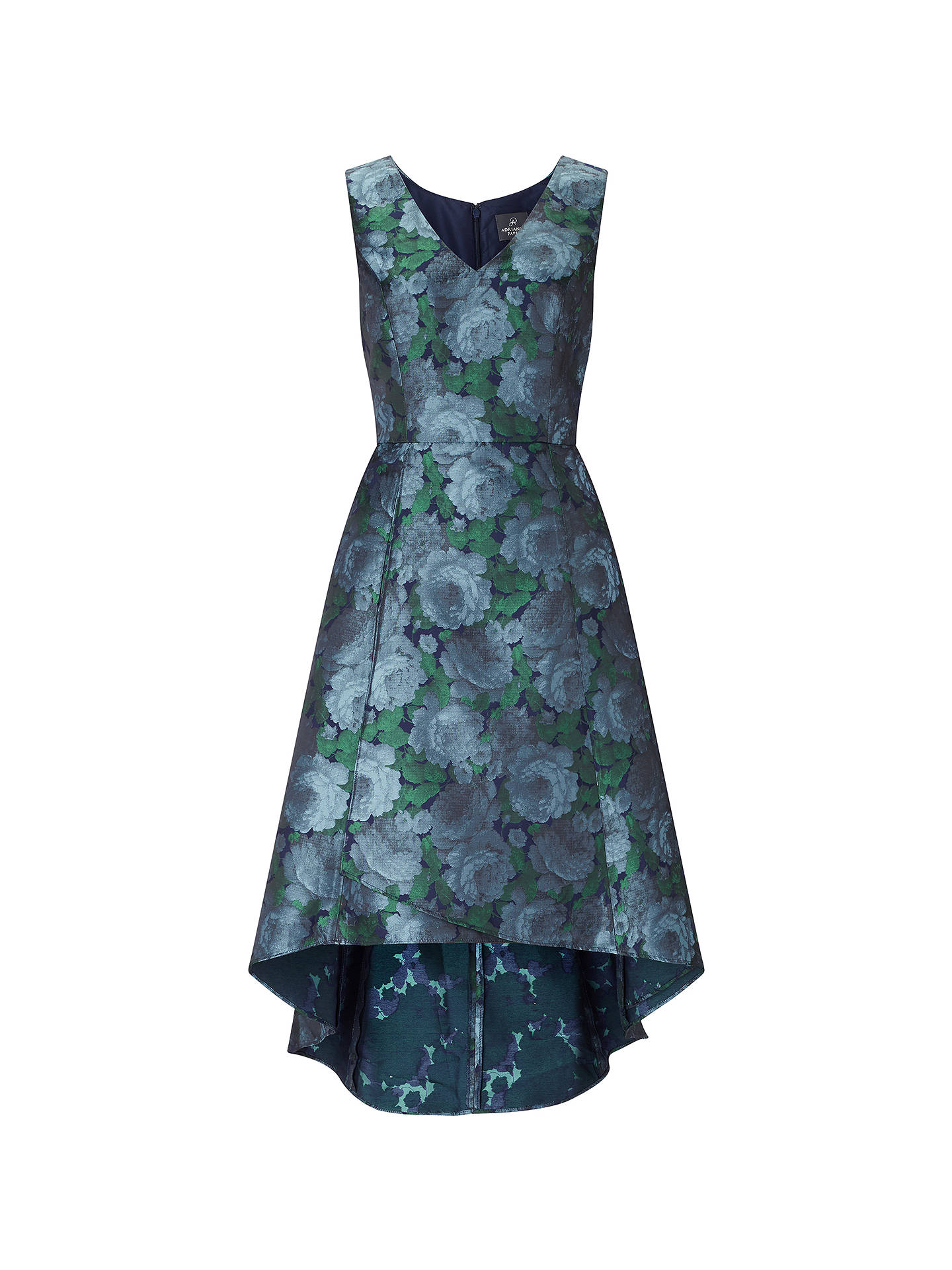 BuyAdrianna Papell High-Low Floral Dress, Blue/Navy, 8 Online at johnlewis.com