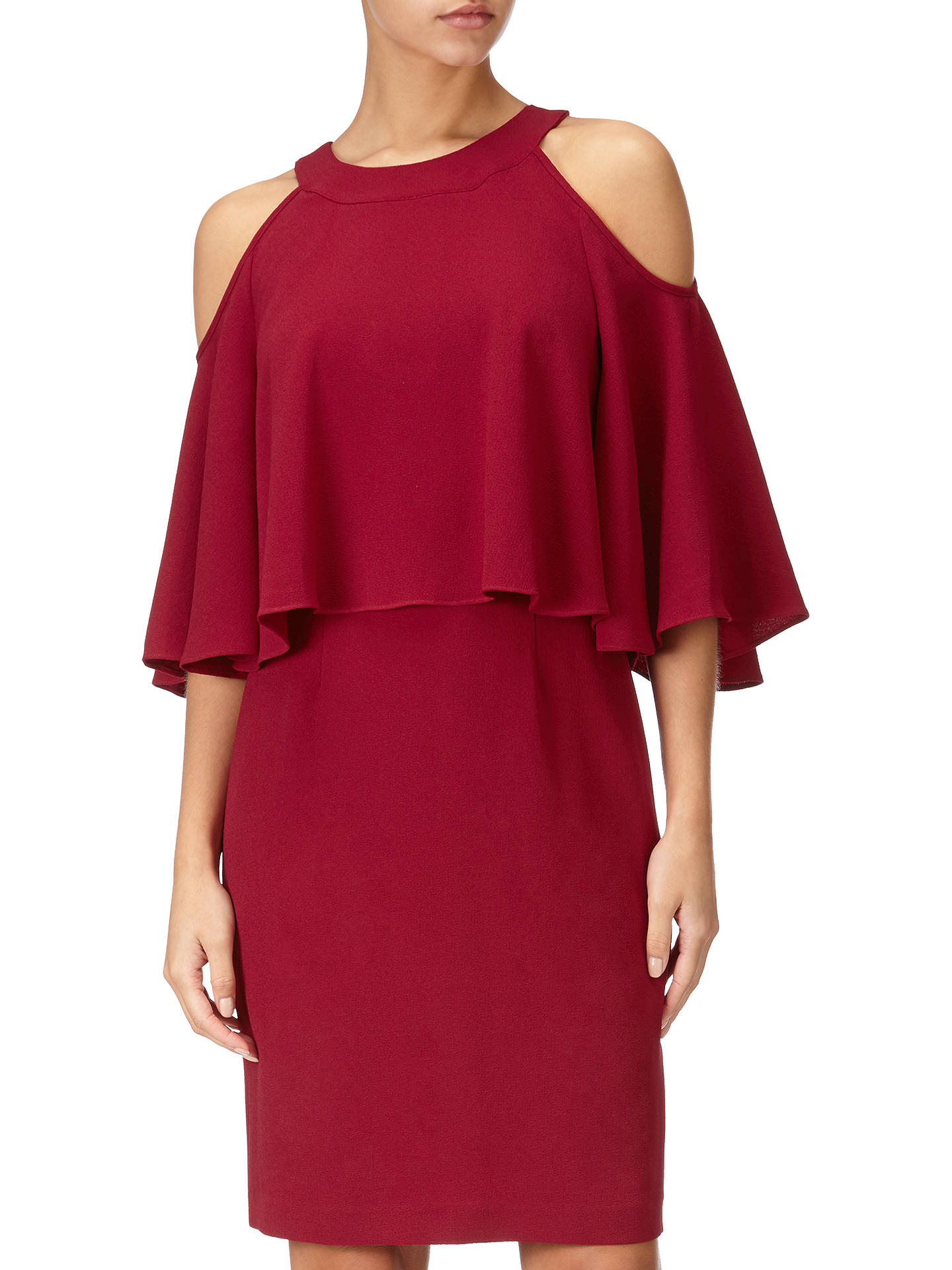 BuyAdrianna Papell Cold Shoulder Sheath Dress, Cranberry, 8 Online at johnlewis.com