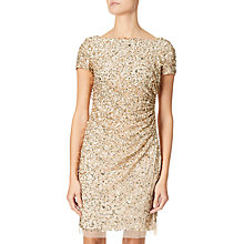 Buy Adrianna Papell Short Fully Beaded Dress, Champagne/Gold Online at johnlewis.com