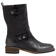 Buy Jigsaw Carlsen Biker Ankle Boots, Black Online at johnlewis.com