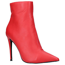 Buy KG by Kurt Geiger Ride Stiletto Heeled Ankle Boots, Red Leather Online at johnlewis.com