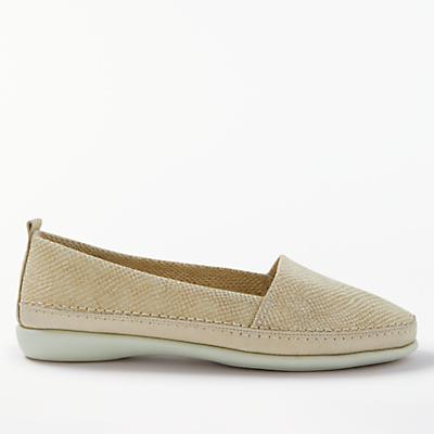 John Lewis Designed for Comfort Wren Slip On Loafers, Gold Leather
