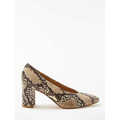 John Lewis Avery High Cut Block Heel Court Shoes, Snake