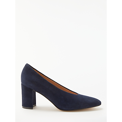 John Lewis Avery High Cut Block Heel Court Shoes, Navy