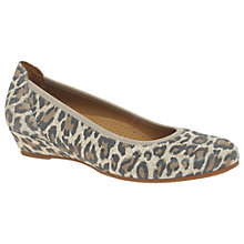 Buy Gabor Chester Wide Fit Wedge Heeled Pumps, Leopard Nubuck Online at johnlewis.com