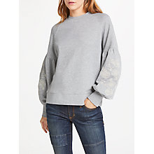 Buy AND/OR Embroidered Sleeve Sweat Top, Light Grey Marl Online at johnlewis.com