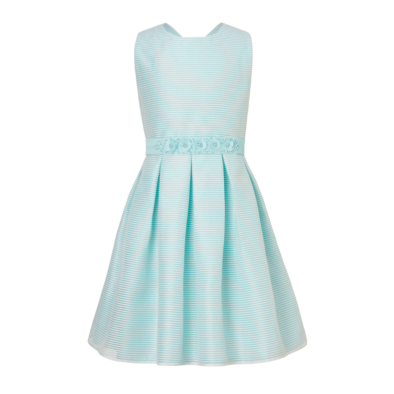 John Lewis Heirloom Collection Girls\' Organza Stripe Dress, Blue at ...