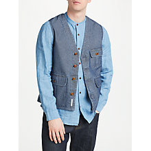 Buy JOHN LEWIS & Co. Cotton Herringbone Waistcoat, Navy Online at johnlewis.com